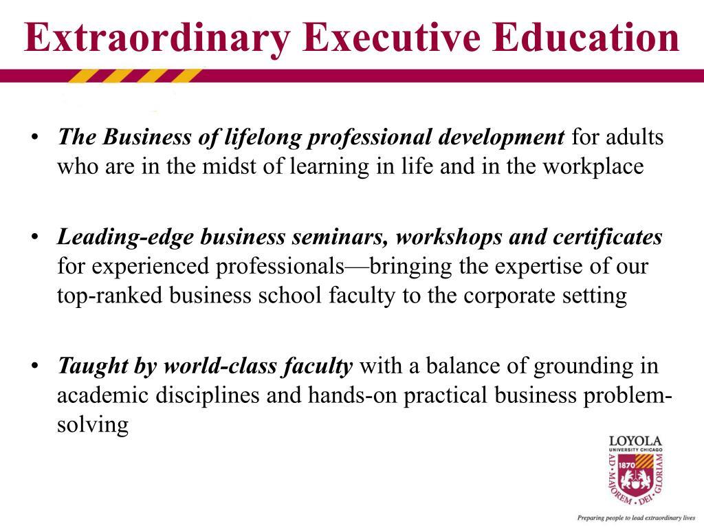 The Business of lifelong professional development