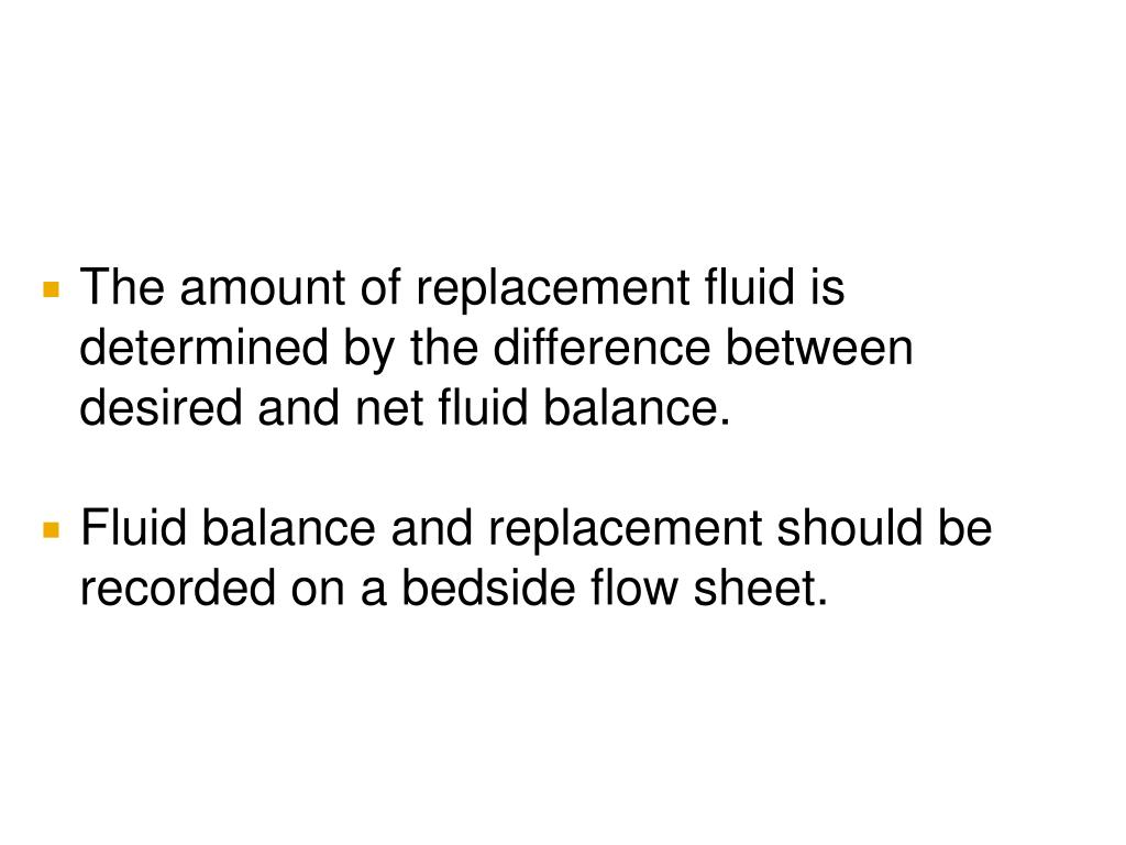 The amount of replacement fluid is determined by the difference between desired and net fluid balance.