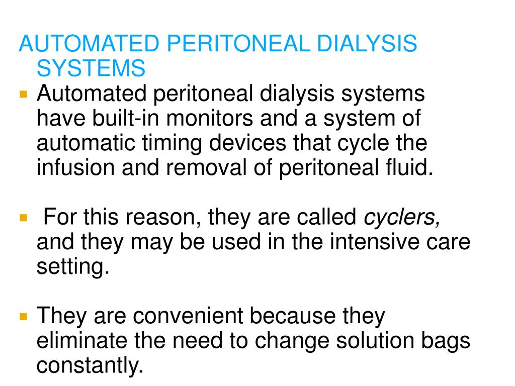 AUTOMATED PERITONEAL DIALYSIS SYSTEMS