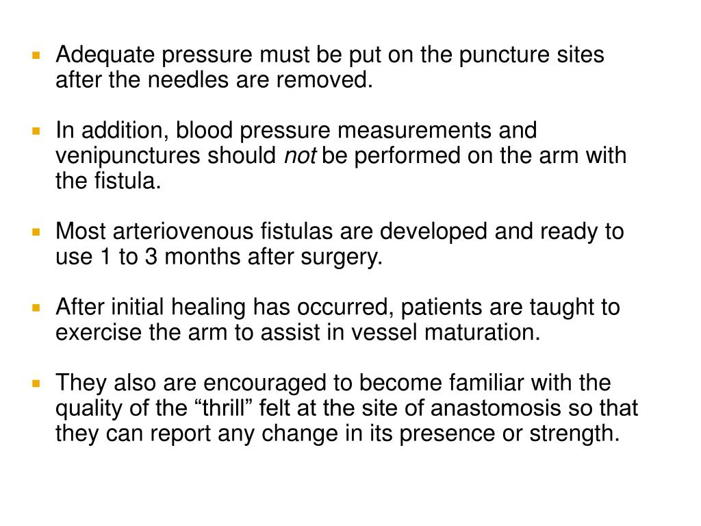 Adequate pressure must be put on the puncture sites after the needles are removed.