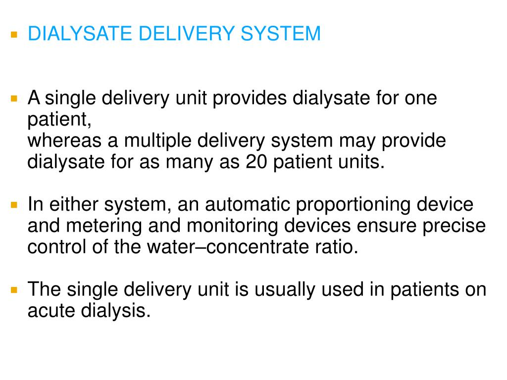 DIALYSATE DELIVERY SYSTEM