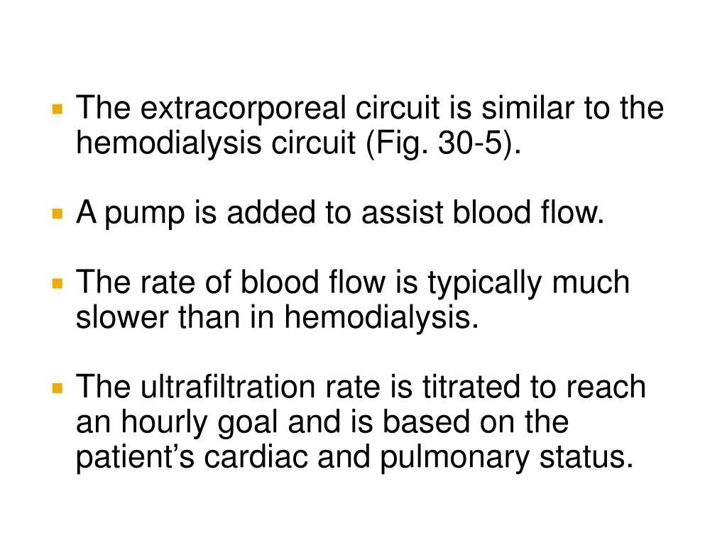 The extracorporeal circuit is similar to the hemodialysis circuit (Fig. 30-5).
