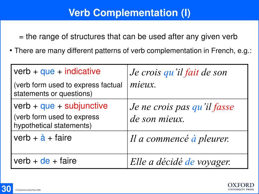 Verb Complementation (I)
