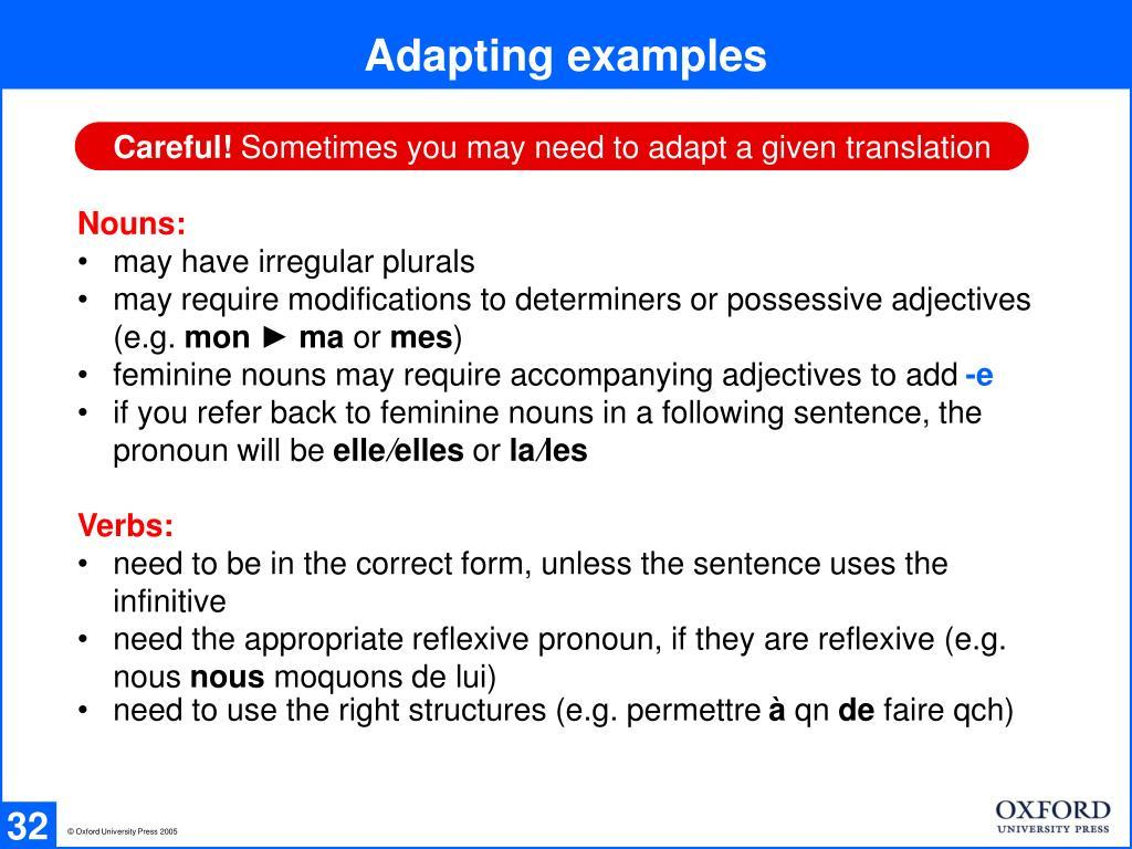 Adapting examples