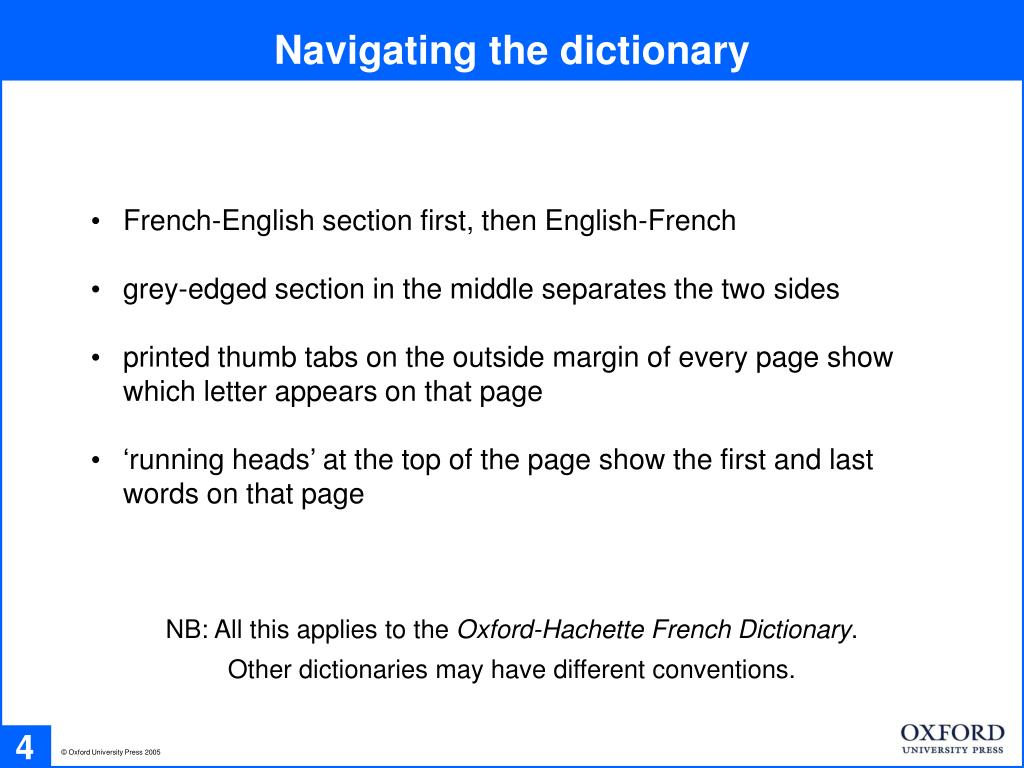 Navigating the dictionary