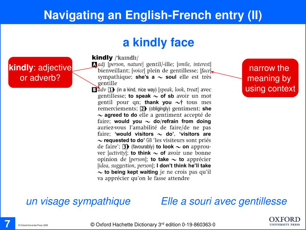 Navigating an English-French entry (II)