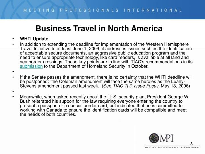 Business Travel in North America