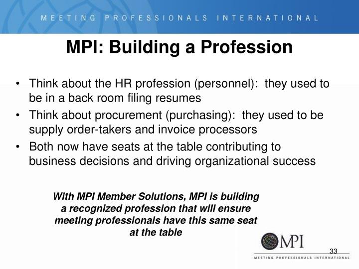 MPI: Building a Profession