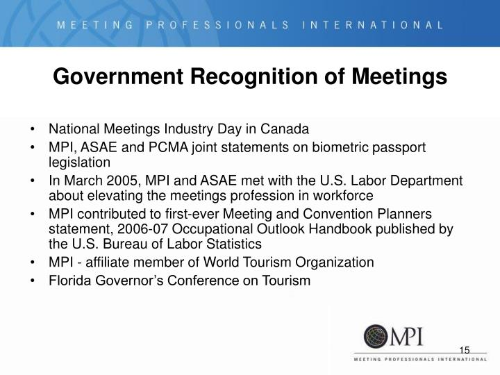 Government Recognition of Meetings