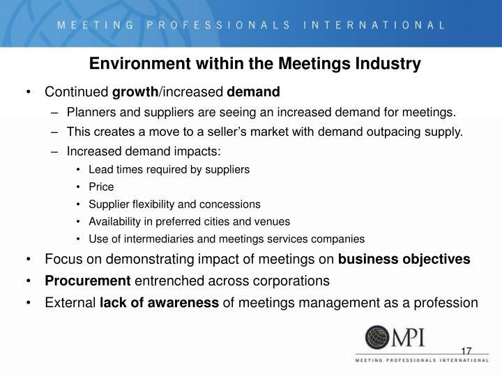Environment within the Meetings Industry