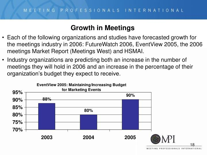 Each of the following organizations and studies have forecasted growth for the meetings industry in 2006: FutureWatch 2006, EventView 2005, the 2006 meetings Market Report (Meetings West) and HSMAI.