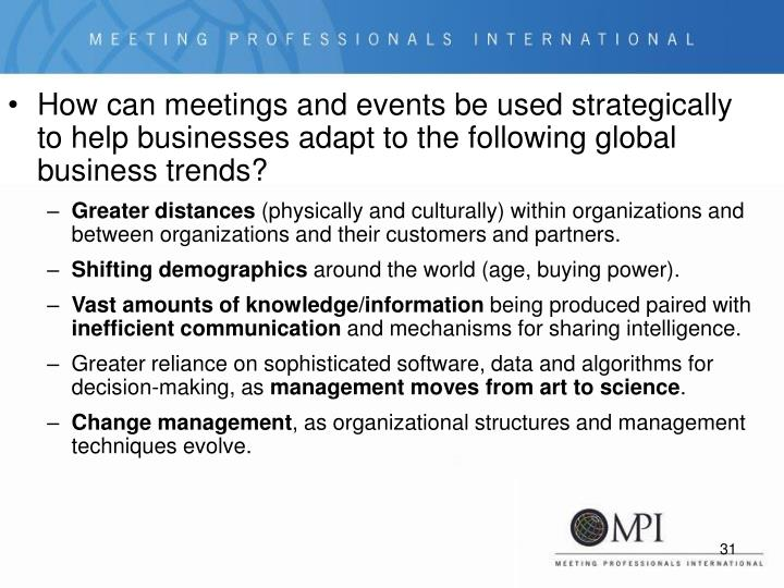 How can meetings and events be used strategically to help businesses adapt to the following global business trends?