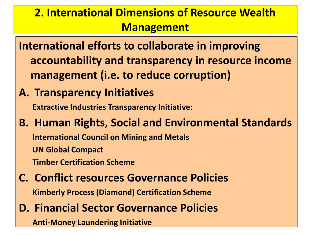 2. International Dimensions of Resource Wealth Management