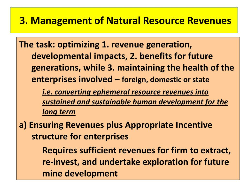 3. Management of Natural Resource Revenues