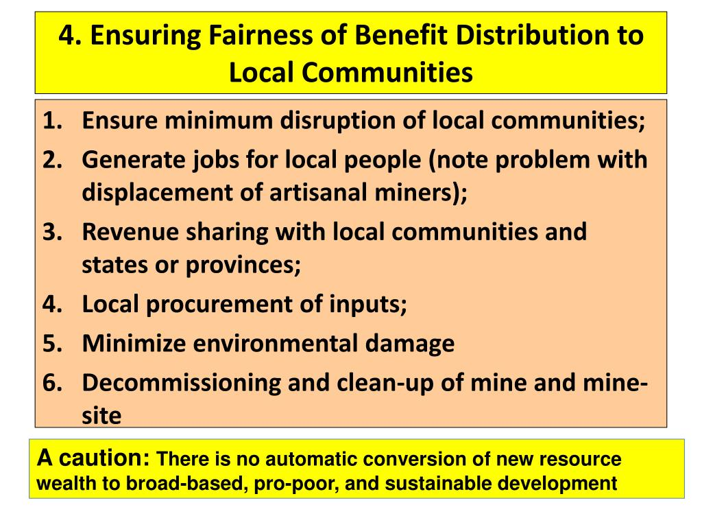 4. Ensuring Fairness of Benefit Distribution to Local Communities