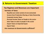 8 returns to government taxation