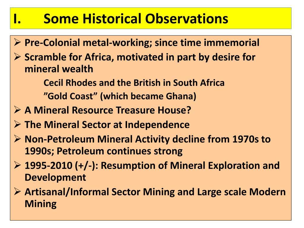 I.Some Historical Observations