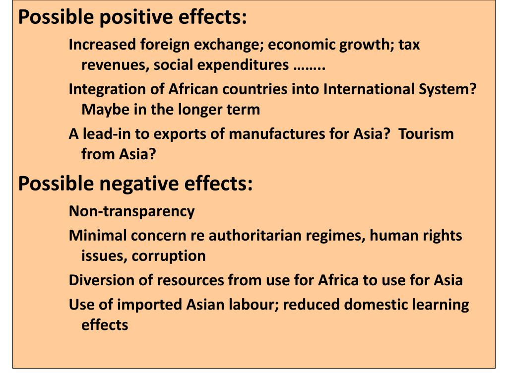Possible positive effects: