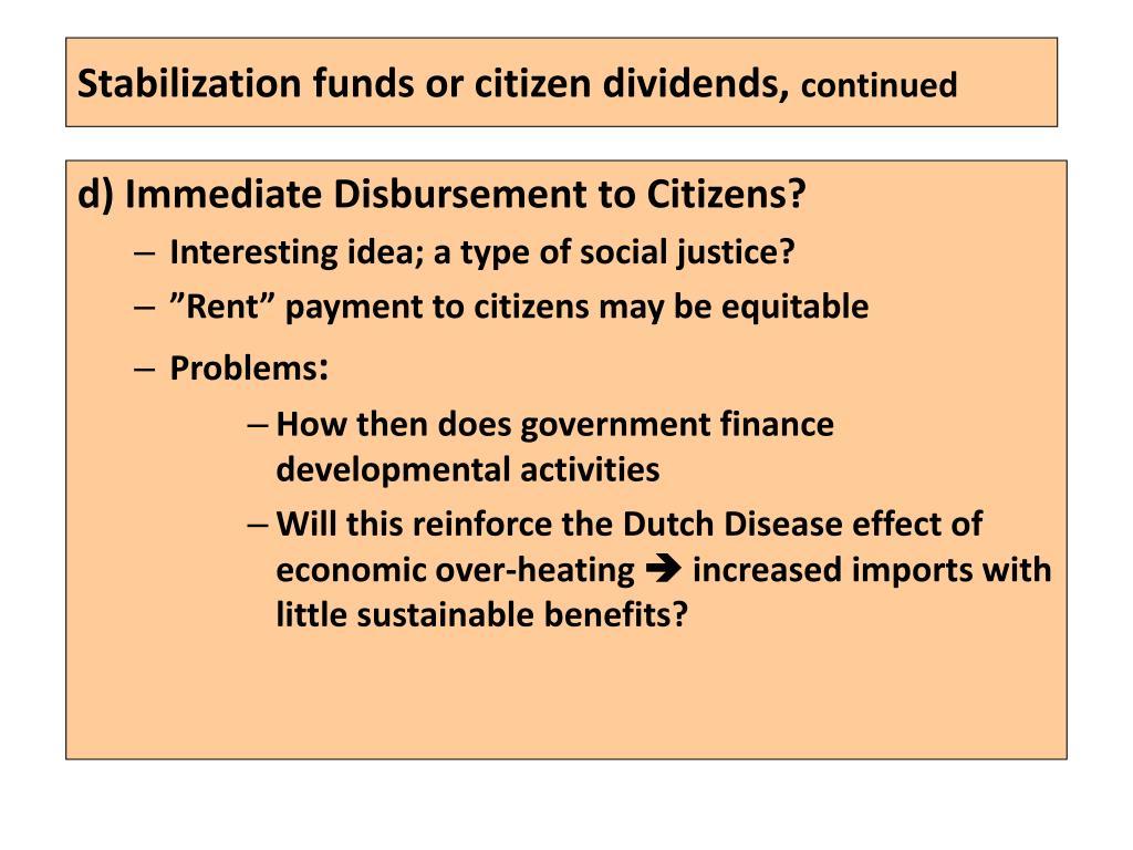 Stabilization funds or citizen dividends,