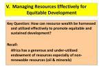 v managing resources effectively for equitable development