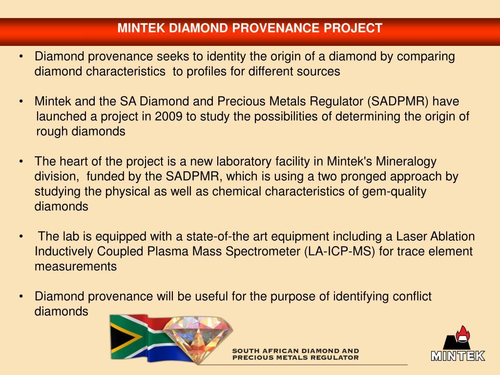 MINTEK DIAMOND PROVENANCE PROJECT