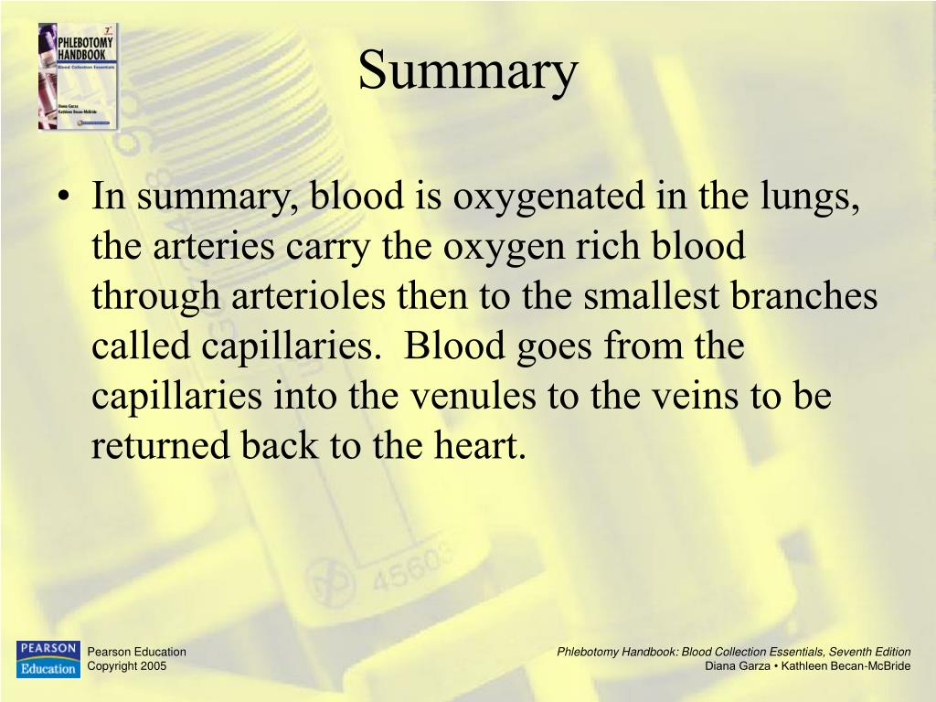 In summary, blood is oxygenated in the lungs, the arteries carry the oxygen rich blood through arterioles then to the smallest branches called capillaries.  Blood goes from the capillaries into the venules to the veins to be returned back to the heart.