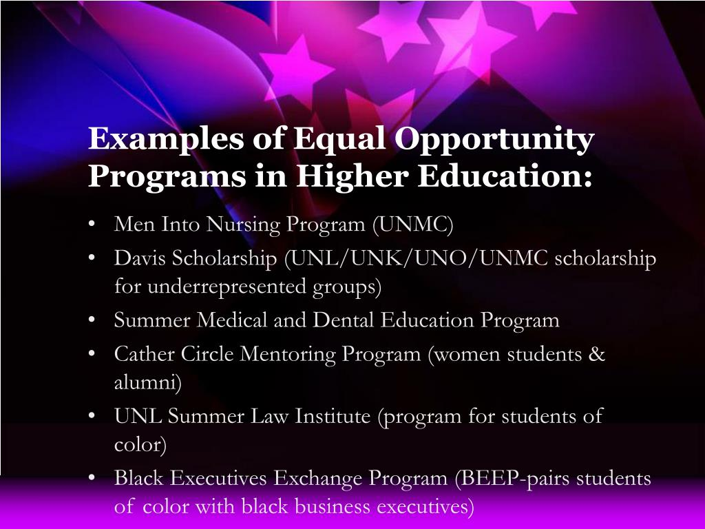 Examples of Equal Opportunity Programs in Higher Education: