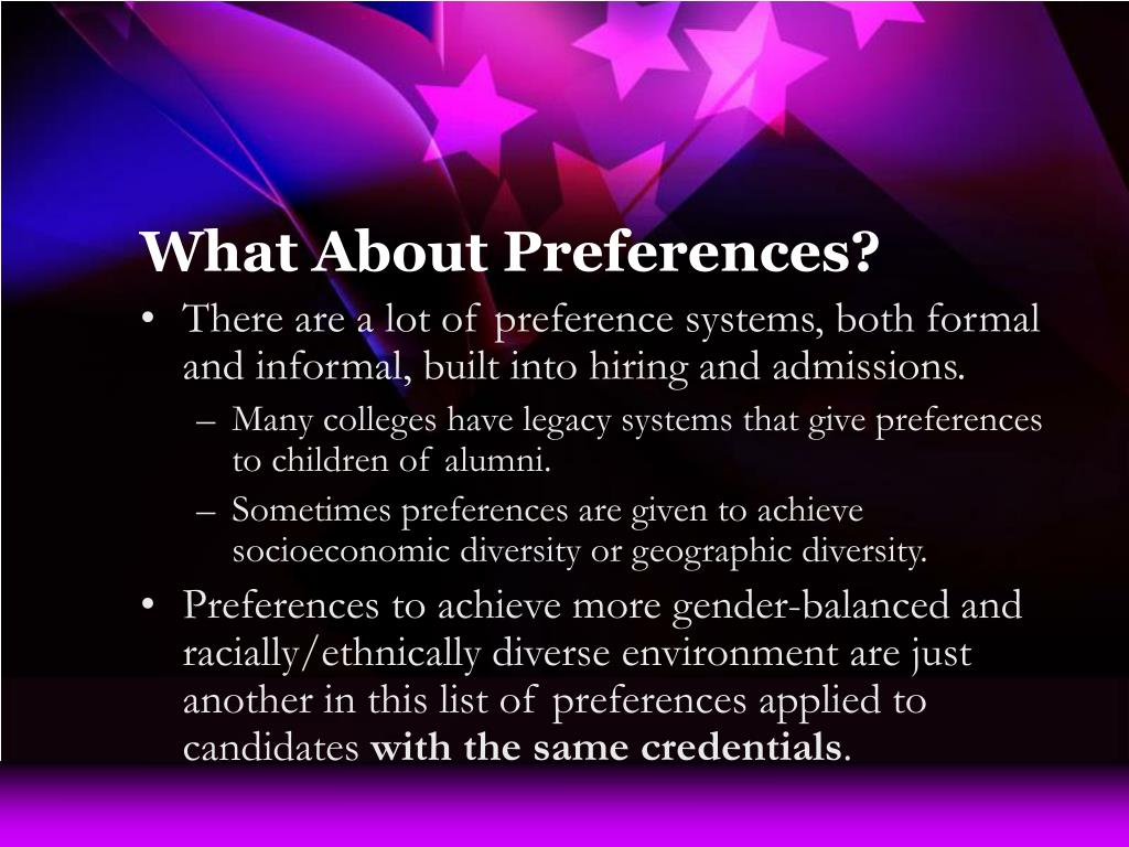 What About Preferences?