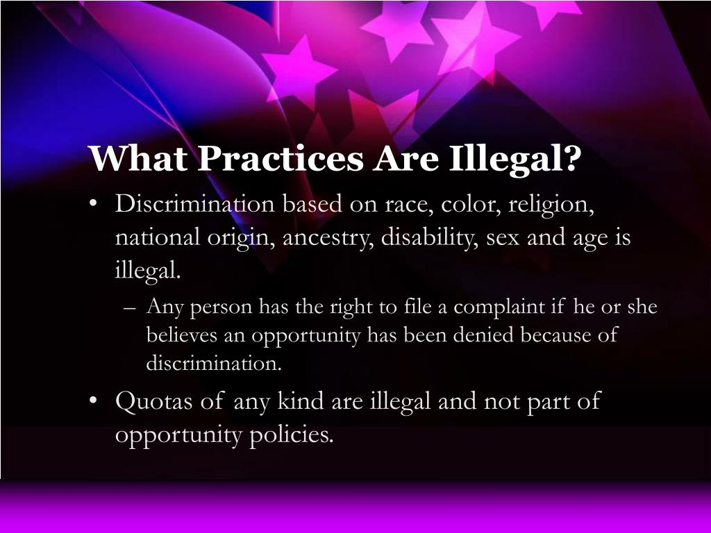 What Practices Are Illegal?