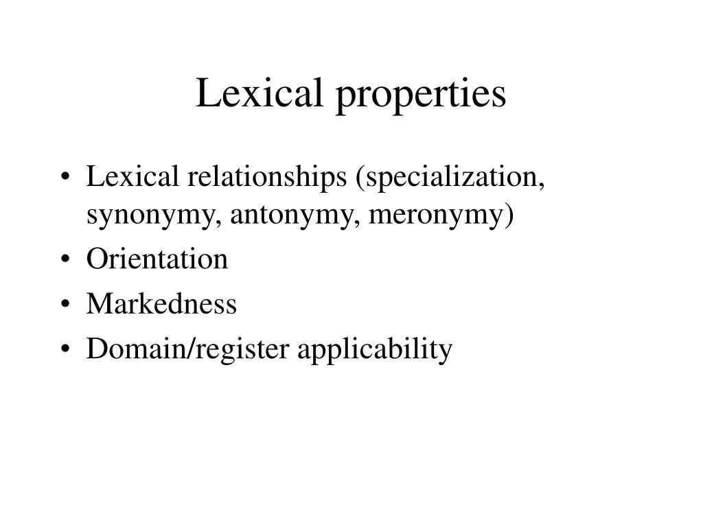 Lexical properties