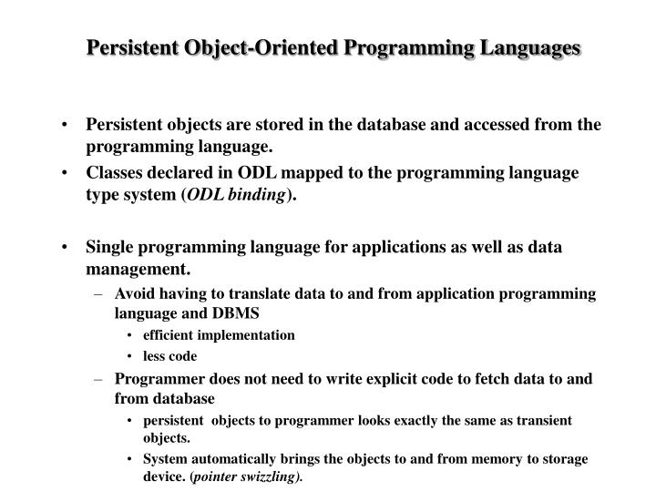 Persistent Object-Oriented Programming Languages