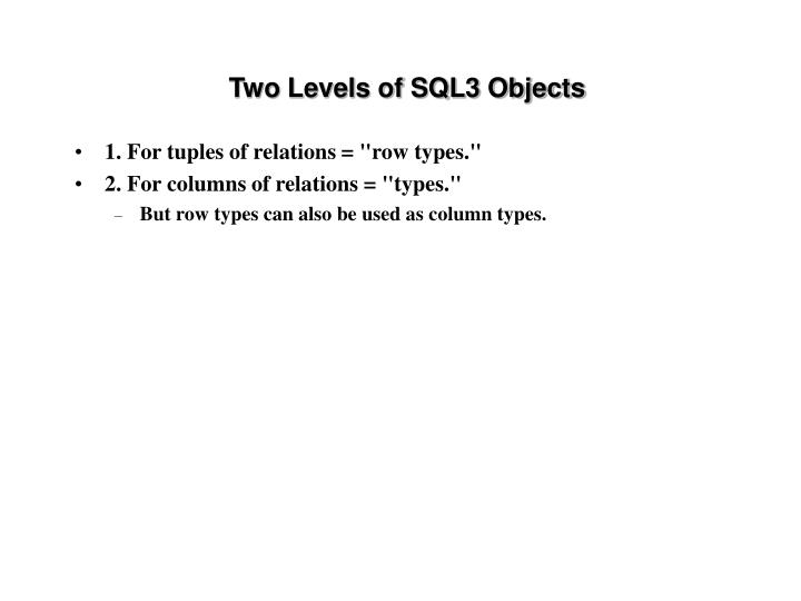 Two Levels of SQL3 Objects