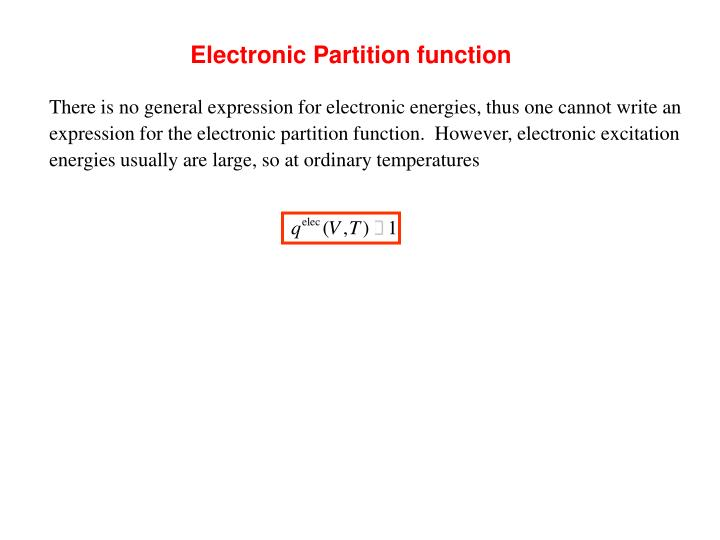 Electronic Partition function