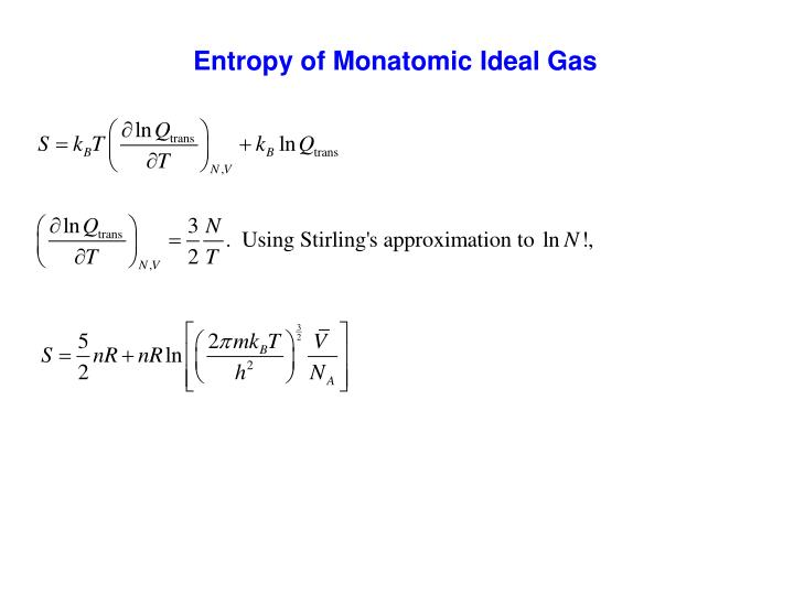 Entropy of Monatomic Ideal Gas