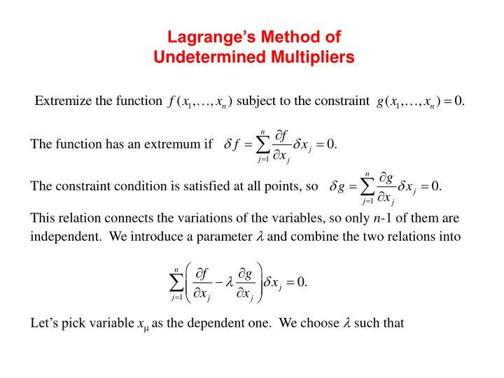 Lagrange's Method of Undetermined Multipliers