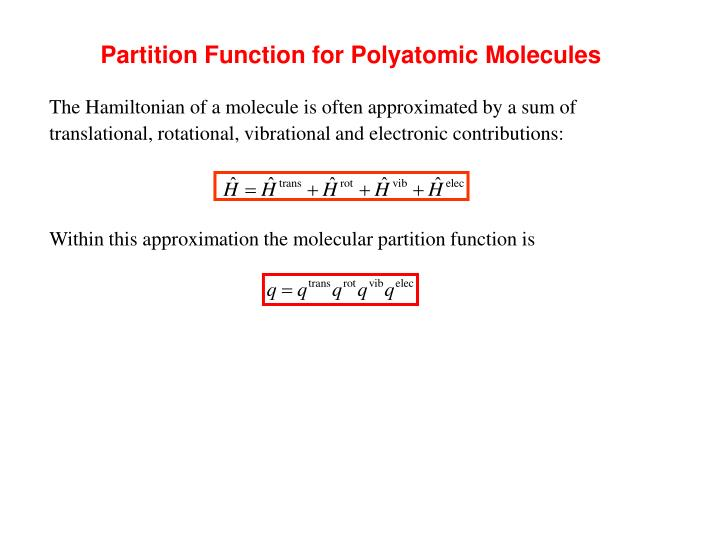 Partition Function for Polyatomic Molecules