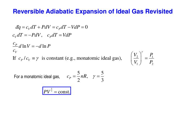 Reversible Adiabatic Expansion of Ideal Gas Revisited