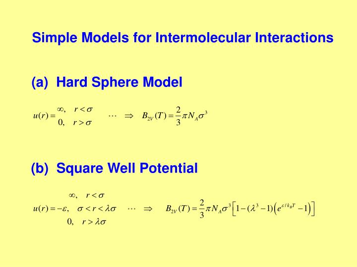 Simple Models for Intermolecular Interactions
