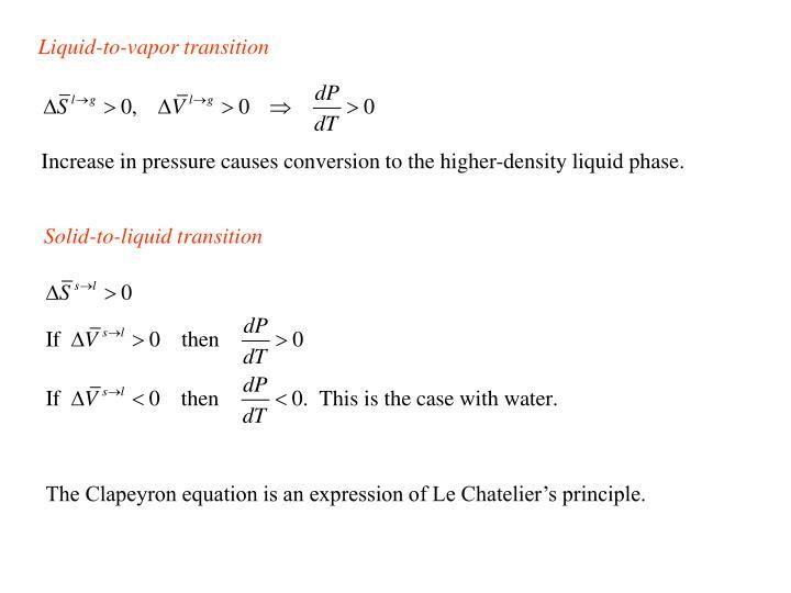 Liquid-to-vapor transition