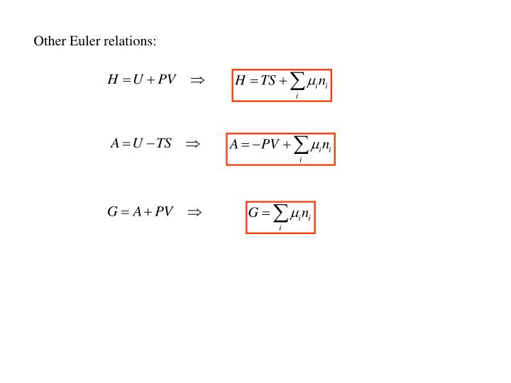 Other Euler relations: