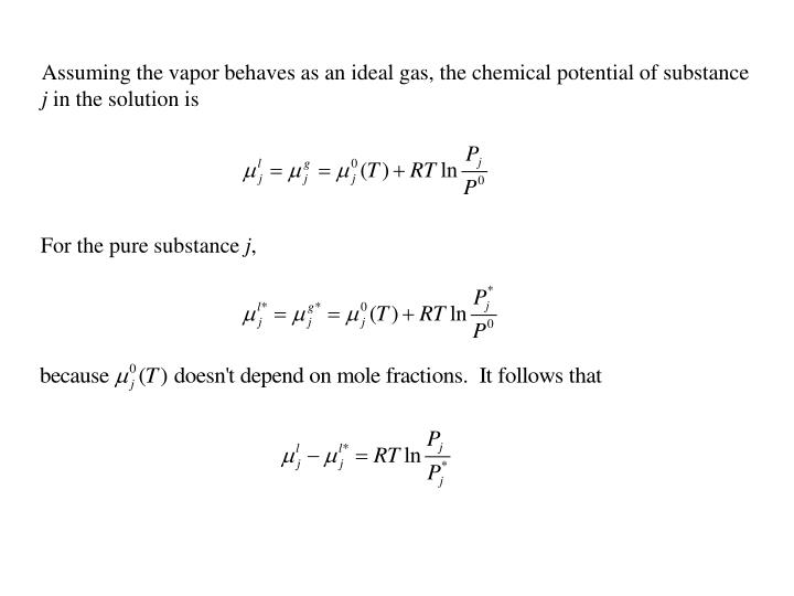 Assuming the vapor behaves as an ideal gas, the chemical potential of substance