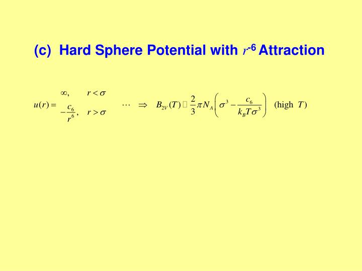 (c)  Hard Sphere Potential with