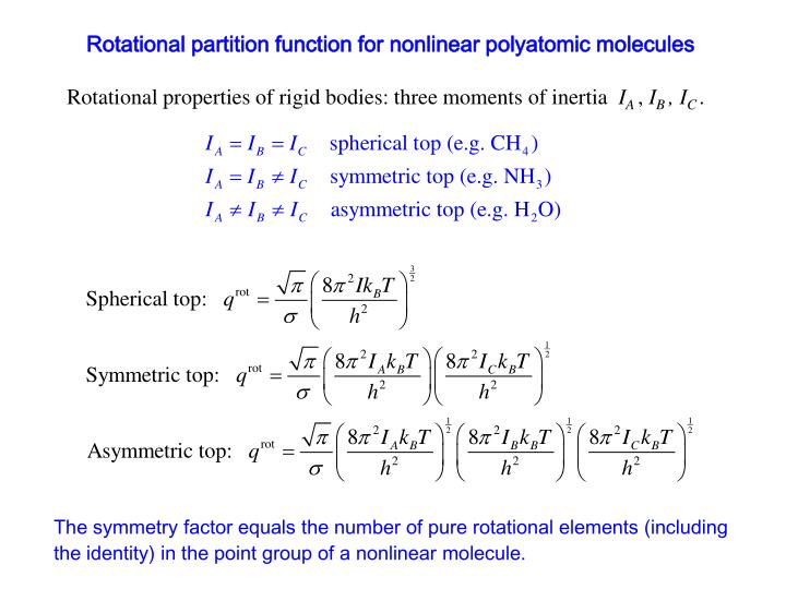 Rotational partition function for nonlinear polyatomic molecules