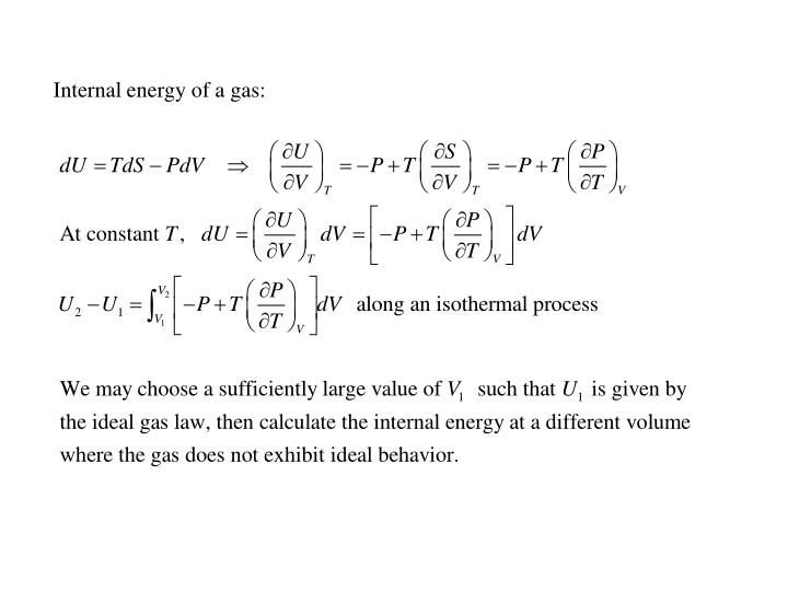 Internal energy of a gas: