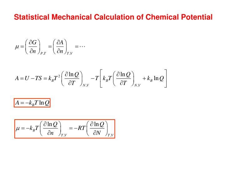 Statistical Mechanical Calculation of Chemical Potential