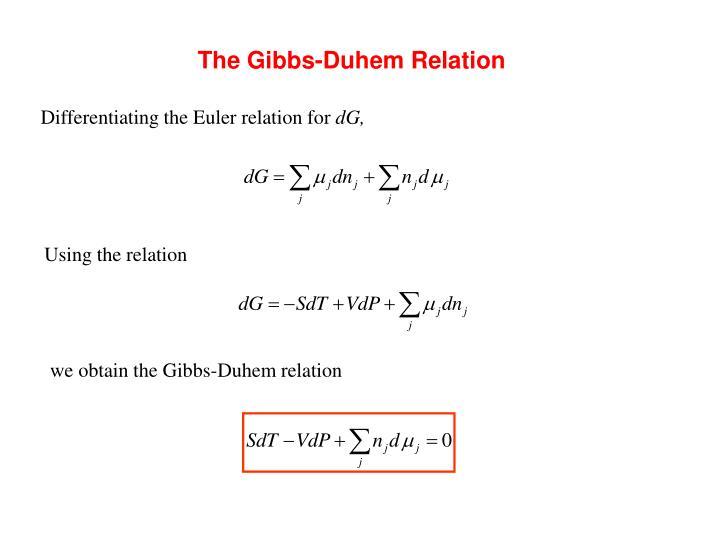 The Gibbs-Duhem Relation