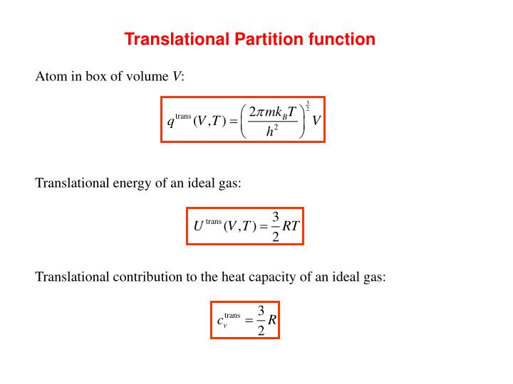 Translational Partition function
