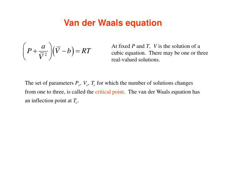 Van der Waals equation