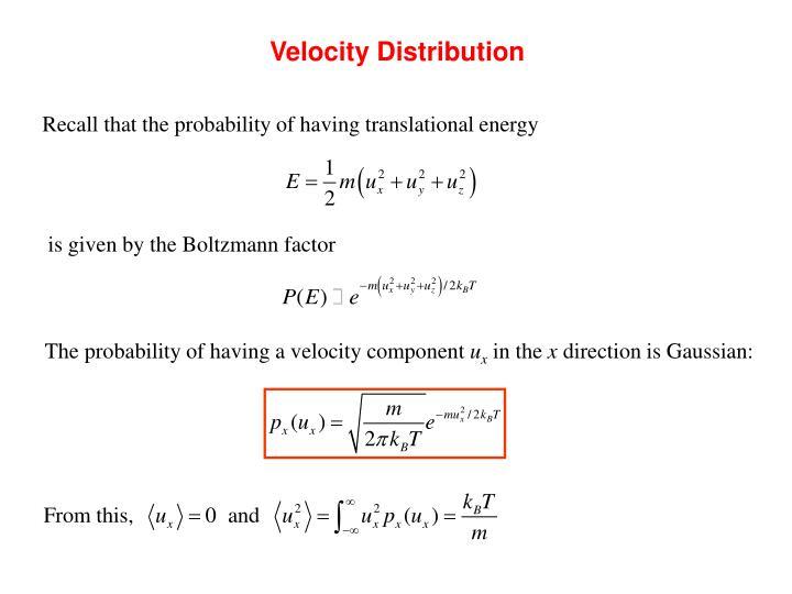 Velocity Distribution