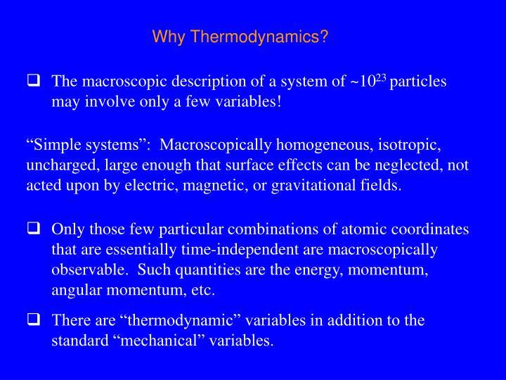 Why Thermodynamics?